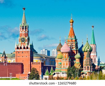 Spasskaya Tower and Cathedral of Vasily the Blessed (Saint Basil's Cathedral) on Red Square. Moscow. Russia