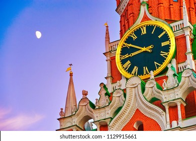 The Spasskaya Tower of Kremlin on Red Square in Moscow at dusk.