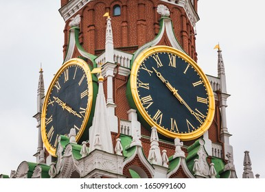 Spasskaya Tower of Kremlin in Red Square in Moscow Russia.