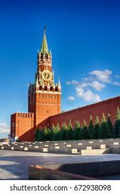 Spasskaya tower. The Kremlin. Russia Moscow. A popular tourist destination.