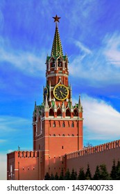 Spasskaya tower of Moscow Kremlin at Red Square in Russia