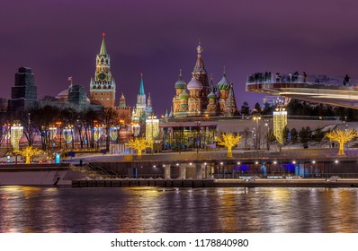 Spasskaya Tower, Moscow Kremlin and Saint Basil s Cathedral in Moscow, Russia. Architecture and landmarks of Moscow. Moscow with Christmas decoration.