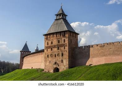 Spasskaya Tower and walls of Kremlin. Veliky Novgorod, Russia