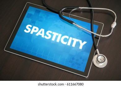 Spasticity (neurological disorder) diagnosis medical concept on tablet screen with stethoscope.