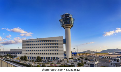 SPATA - GREECE, DECEMBER 2015: Athens International Airport - Eleftherios Venizelos and air Traffic Control Tower (TWR) in Spata. Attica - Greece
