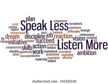 Speak Less Listen More, word cloud concept on white background.