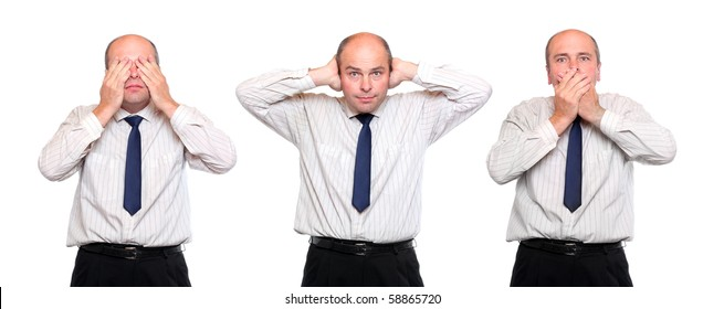 Speak no evil, see no evil and hear no evil. Three monkey concept. Senior businessman on white background.