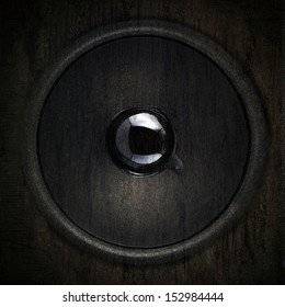 Speaker in black wall wood texture background