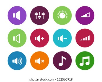 Speaker circle icons on white background. Volume control. See also vector version.