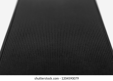 Speaker grille texture; Black performated metal ( or iron, aluminium, chrome, steel, silver) like abstract background