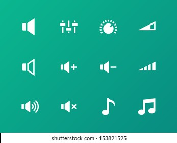 Speaker icons on green background. Volume control. See also vector version.