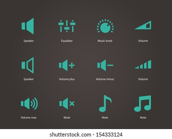 Speaker icons. Volume control. See also vector version.