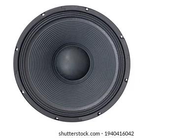 Lautsprechermembran einzeln auf weißem Hintergrund mit Kopienraum.