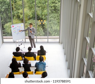 Speaker presentation in a conference meeting room with many of audiences