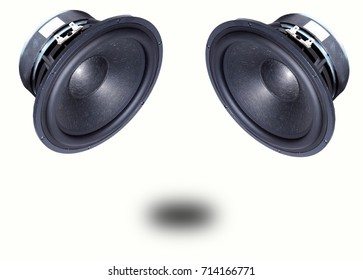 The speakers are centered tilted to the back of the sound, separated from the white background.