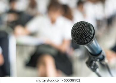 Speaker's microphone in seminar meeting room