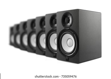 a lot of speakers on a white background. Shot in studio. Isolated with clipping path.