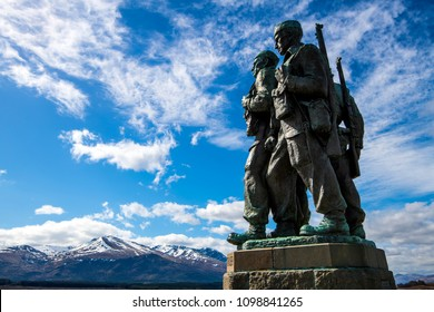 Spean Bridge, Highland, Scotland - April, 21st 2018: The Commando Memorial with the statue of brave men, comrades in arms engaged in secret World War II military actions, gazing at the Ben Nevis range