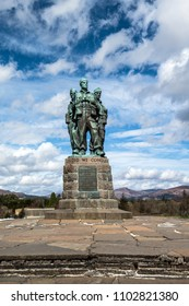 Spean Bridge, Highland, Scotland - April, 21st 2018: The Commando Memorial with the statue of brave men, comrades in arms engaged in secret World War II military actions.