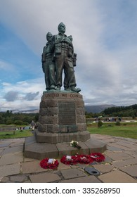 SPEAN BRIDGE, SCOTLAND - 21 SEPT. 2015:The Commando Memorial near Ben Nevis honors the British Commandos who trained here in WWII. Year-round thousands of servicemen and civilians pay their tribute