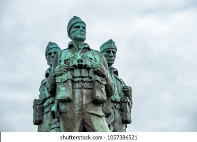 SPEAN BRIDGE / SCOTLAND - MAY 31 2017:: A memorial dedicated to the men of the British Commando Forces raised during World War II.
