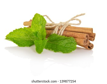 Spearmint with cinnamon isolated on white