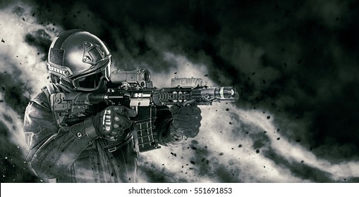 Spec ops police officer SWAT in black uniform with rifle making his way through the fire. Studio shot on black background. Police assault concept