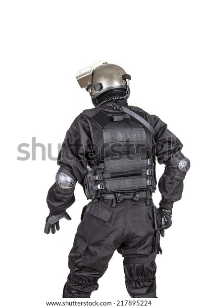 Spec Ops Soldier Black Uniform Face Stock Photo (Edit Now) 217895224