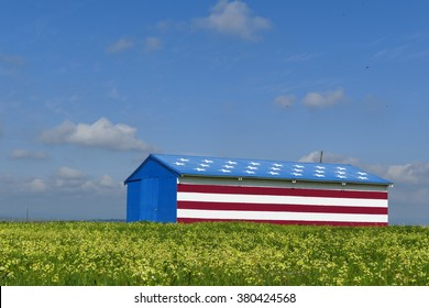Special American flag style house with flower field and blue sky