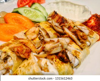 special arabian menu of meat kebabs or chicken kebabs