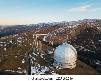 Special astrophysical observatory in the evening. Aerial view