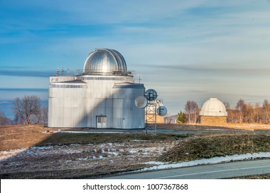 Special astrophysical observatory of Russian Academy of sciences located in mountain area (Caucasus, Russia) at altitude 2000 m near Arkhyz. Tower od Big azimuth telescope is presented at the image.