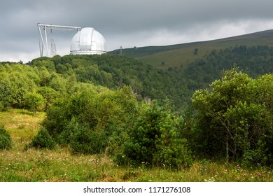 A special astrophysical observatory in the summer in Caucasian mountains.