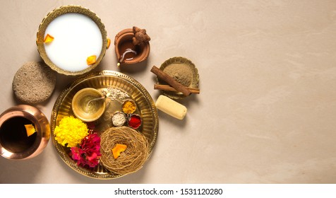 Special ayurvedic herbal bath ingredients which is used on special and auspicious occasions like Diwali, weddings etc. Ancient Indian spa ritual objects shot from above.