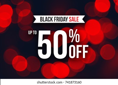 Special Black Friday Sale Up To 50% Off Text Over Red Duotone Christmas Lights, Horizontal