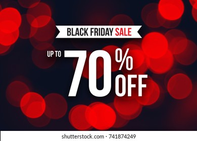 Special Black Friday Sale Up To 70% Off Text Over Red Duotone Christmas Lights, Horizontal