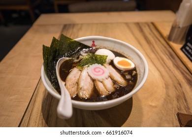 Special burnt black soup ramen in kyoto