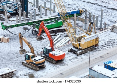 Special construction machinery on the construction site in winter season
