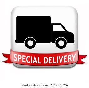 special delivery online package shipping web shop internet order from webshop icon or button