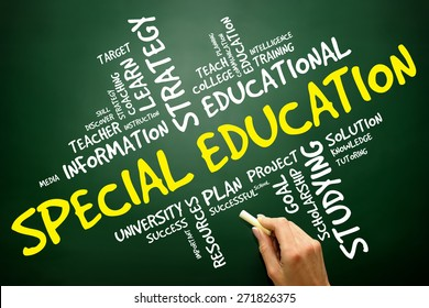 Special education word cloud,  concept on blackboard