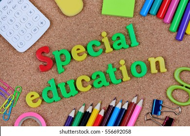 Special education words on cork background