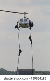 Special force landing from helicopter