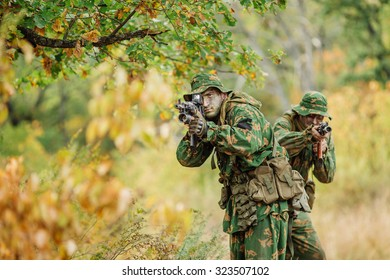 Special forces operator in the battlefield with a rifle