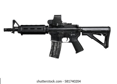 special forces rifle isolated on a black background