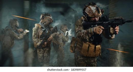 special forces soldier in battlefield . modern warfare.