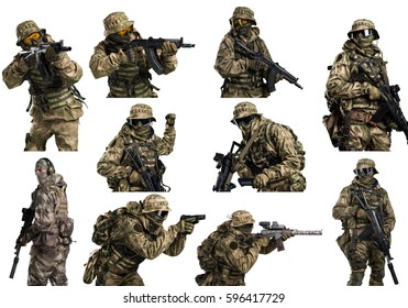 Special forces soldier with rifle on white background. Shot in studio. Isolated with clipping path.