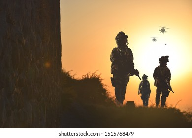 special forces soldier silhouette , military concept