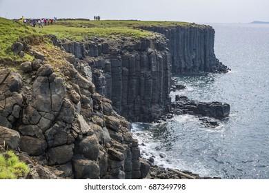 Special geology of columnar basalt at South Penghu national marine park, Taiwan.