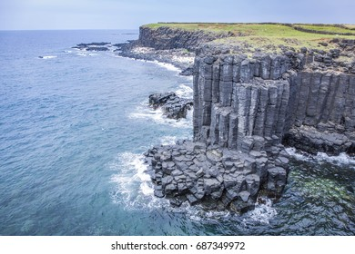 Special geology of columnar basalt at South Penghu national marine park, Taiwan.
