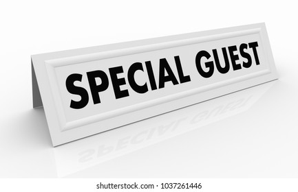Special Guest Name Tent Card Words 3d Illustration